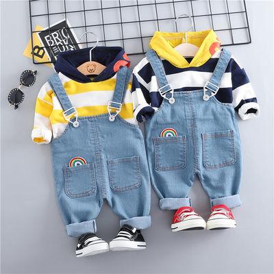 男女宝宝春秋装新款长袖牛仔背带裤套装男童装帅气潮衣服1-2-3岁4