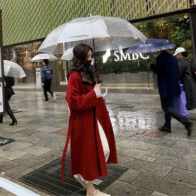 反季双面羊绒呢子大衣女新款红色双排扣系带中长款冬季羊毛呢外套