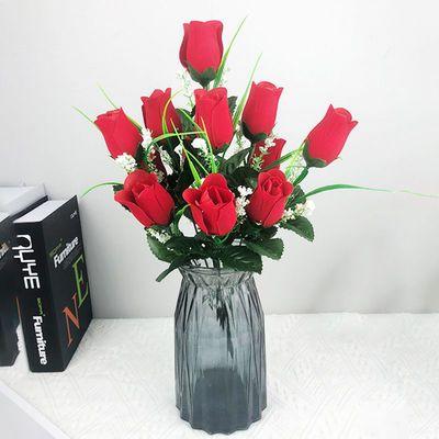 12头玫瑰仿真花人造花客厅卧室餐厅摆件房间装饰客厅摆件
