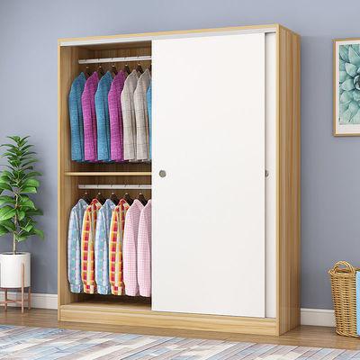 推拉门衣柜现代简约实木质儿童衣橱出租房家用卧室经济型简易柜子