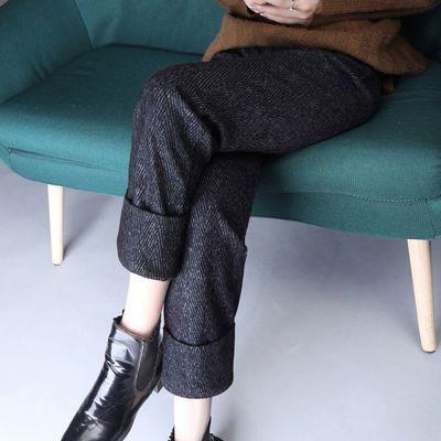 复古人字纹毛呢翻边西装裤女秋冬休闲显瘦烟管裤气质九分直筒裤女