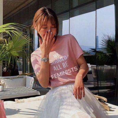 41109/2020新款夏装纯棉短袖粉红色T恤ins风学生韩版圆领洋气休闲百搭