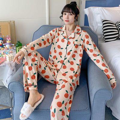睡衣女春秋冬季棉质长袖韩版卡通学生可外穿宽松家居服套装橙子
