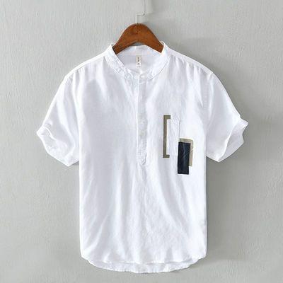 夏季新款男士短袖衬衫立领薄款复古透气套头半袖上衣青少年衬衣潮