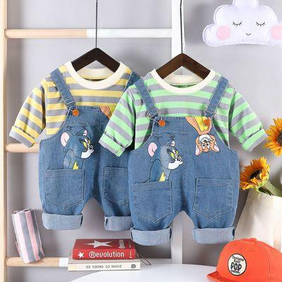 男童牛仔背带裤套装2020新款1洋气秋装3岁男宝宝春秋季休闲两件套