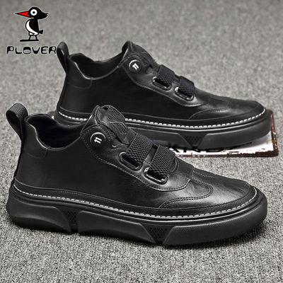 PLOVER啄木鸟男鞋透气潮流韩版内增高潮鞋休闲皮鞋英伦百搭板鞋男