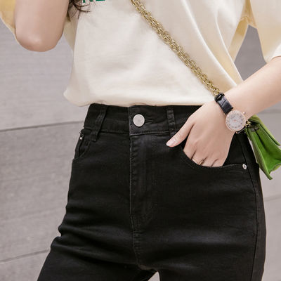 【弹力透气】牛仔五分裤女黑色春夏款高腰紧身白短裤骑行中裤破洞
