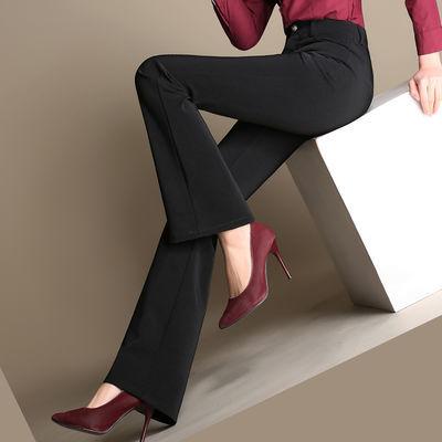 秋冬款微喇叭裤女厚款职业装加绒西裤修身女士黑色大码休闲裤长裤