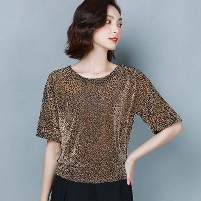 真丝恤女短袖上衣夏装新款豹纹宽松遮肚子亮丝上衣洋气包邮