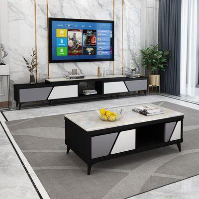 新款大理石电视柜茶几组合现代简约客厅地柜轻奢磨砂玻璃电视机柜