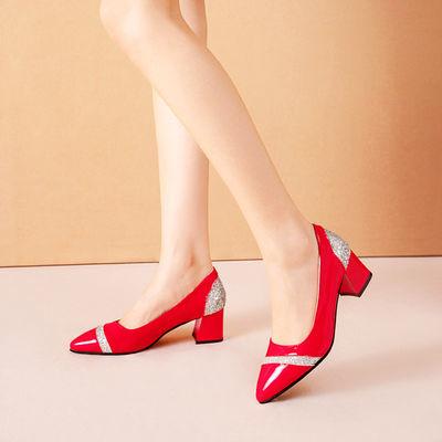 鞋女百搭工作鞋潮女鞋新款水钻红色小皮鞋女一脚蹬浅口粗跟尖头单