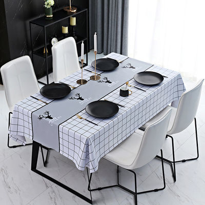 家用茶几桌布防水防油防烫免洗长方形北欧pvc餐桌布网红ins风台布