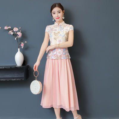 旗袍夏季2018新款女时尚显瘦民族风日常年轻走秀假两件长款连衣裙