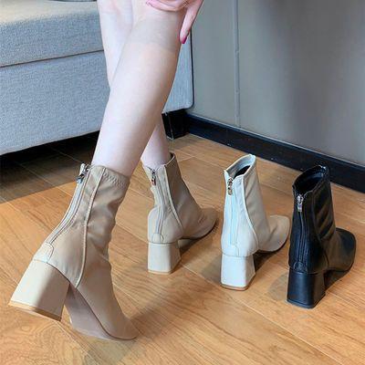 加绒靴子女粗跟2020秋冬短靴中跟马丁靴英伦风方头网红弹力瘦瘦靴