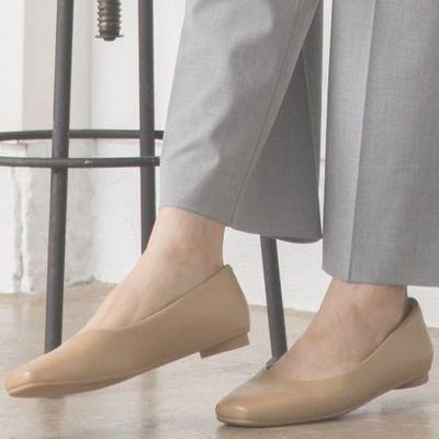 日系GLOBALWORK女鞋2020单鞋女平底方头复古皮鞋一脚蹬软底奶奶鞋