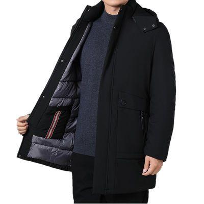 冬季加厚中年男士棉衣宽松大码过膝加长款棉袄爸爸装羽绒棉服外套