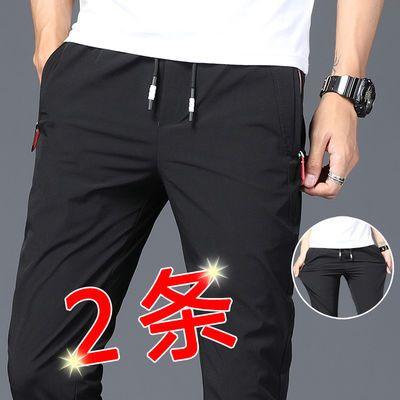 休闲裤男裤子冰丝夏季薄款男生运动裤男士潮流黑色速干裤宽松直筒