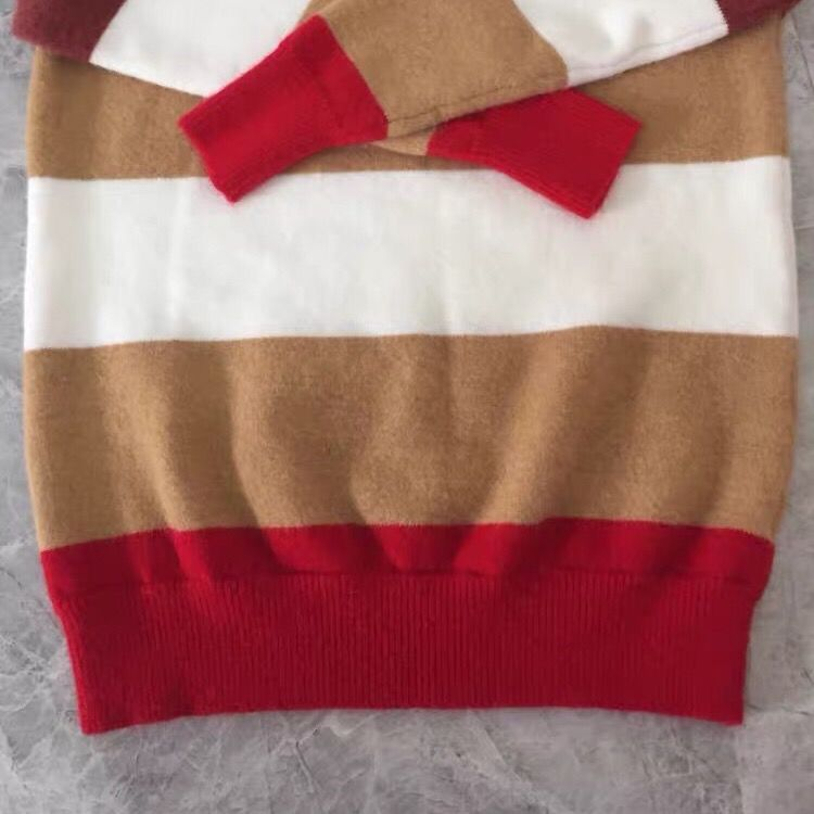 88625-北极绒新款春秋季韩版宽松网红毛衣针织长袖条纹学生时尚套头圆领-详情图