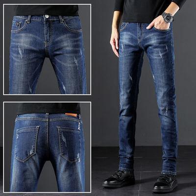 新款弹力牛仔裤男士修身小脚破洞裤子男韩版潮流春秋男士牛仔长裤