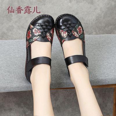 真皮平底女鞋民族风舞蹈鞋牛皮妈妈鞋中老年人手工编织鞋复古单鞋