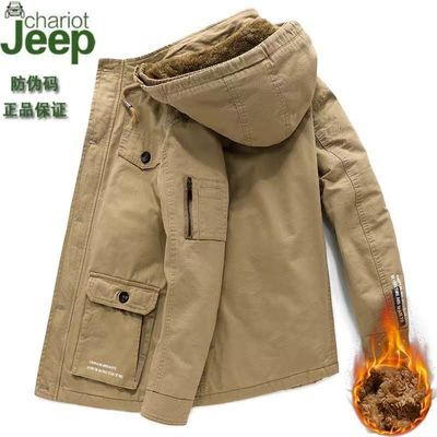 吉普战车秋冬夹克男外套工装上衣男装爸爸装加绒加厚棉衣宽松大码
