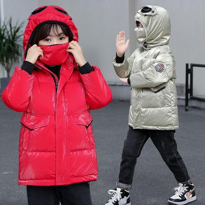 秋冬新款白鸭绒儿童羽绒服中长款男女童大中小童亮面加厚宝宝外套