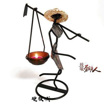 硬核城创意烛台铁艺人美女蜡烛台田园装饰品农家扛锄少女桌面摆件