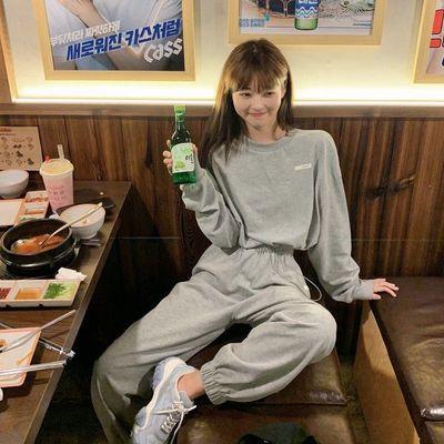 林珊珊春秋季lazy抽绳运动套装女长袖卫衣上衣高腰裤子休闲两件套