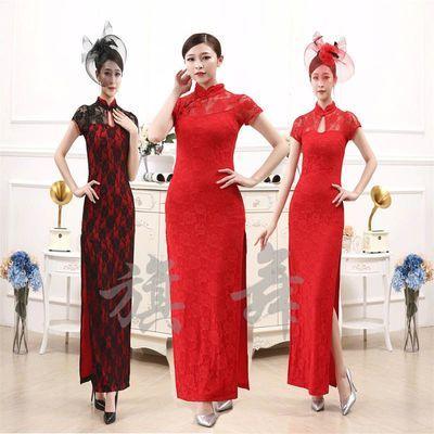 全红色长款旗袍高开叉衩老夜上海蕾丝长裙礼仪迎宾舞蹈舞台演出服