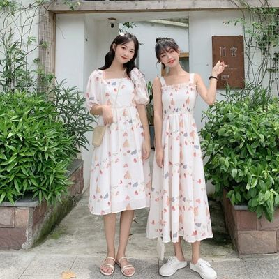 连衣裙女2020新款夏季中长款印花收腰显瘦泡泡袖方领短袖碎花裙子