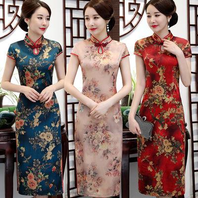 夏季短袖香云纱旗袍长款中年女装连衣裙中国风复古改良立领旗袍