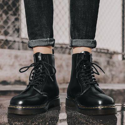 马丁靴男夏季透气高帮机车靴子英伦风百搭韩版潮流休闲男士工装靴