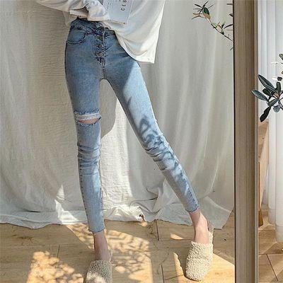 破洞牛仔裤夏季2020年新款女高腰洋气显瘦显高新潮百搭紧身小脚裤