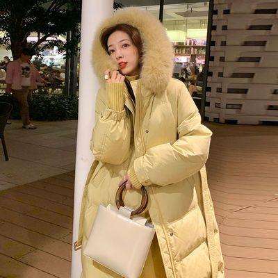 2020冬季新款羽绒棉服过膝长款韩版大毛领收腰宽松加厚棉衣女外套