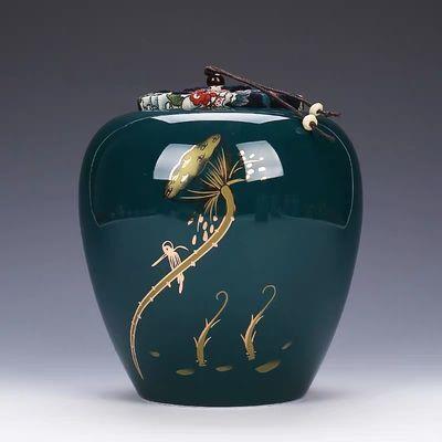 青瓷大码茶罐茶叶罐陶瓷大号家用密封罐普洱小青柑包装盒子定制