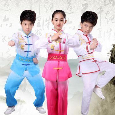 儿童武术表演服装长短袖幼儿成人中小学生演出服太极刺绣龙训练服