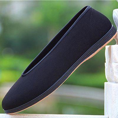 老北京v口布鞋传统老头鞋元口黑色圆口中老年大号38 44松紧口男鞋