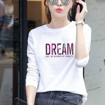 【高品质95%棉】秋冬季纯黑白色t恤女打底衫长袖简约韩版宽松休闲