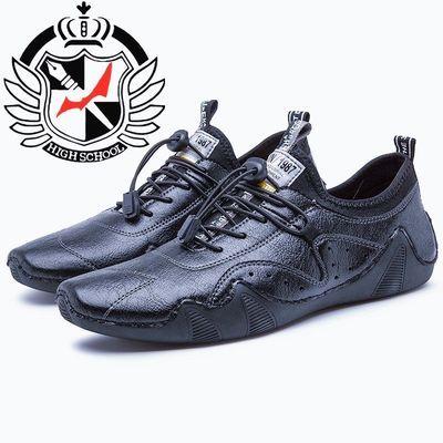 秋季新款休闲鞋子男士百搭潮流低帮皮鞋青年日常约会男鞋真皮缝制