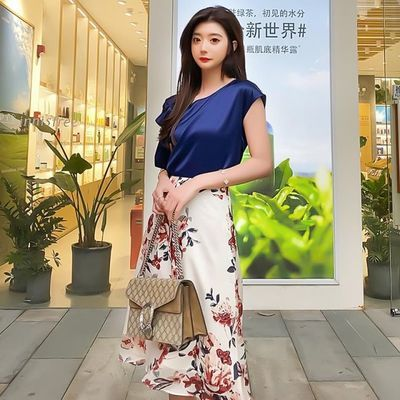 秋款夏季新款温柔淑女水墨花朵印花高腰半身裙 气质显瘦中长款A字