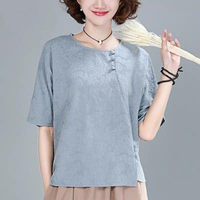 短袖t恤女2020年夏季新款女装宽松中国风盘扣纯棉中年妈妈上衣潮