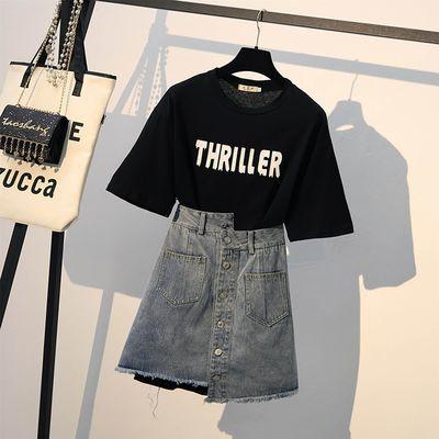 裙子套装女2019新款夏假两件字母半袖t恤上衣宽松绑带裤裙两件