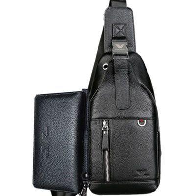【买牛皮胸包送手包】新款男士胸包真皮单肩斜挎包多功能胸前包