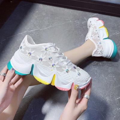 老爹凉鞋女2020年新款厚底松糕鞋彩虹底运动凉鞋女软底轻便