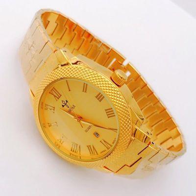 男士防水手表正品沙金手表24k金色商务超大号罗马表盘不掉色石英