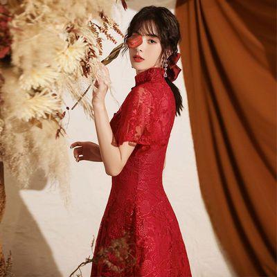 敬酒服小个子新娘平时可穿酒红色显瘦订婚旗袍结婚回门礼服连衣裙