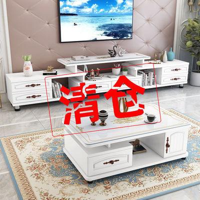 电视柜茶几组合小户型现代简约北欧新款客厅轻奢钢化玻璃电视机柜