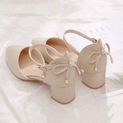 蝴蝶结粗跟高跟鞋女2020年夏季新款仙女风中跟包头凉鞋百搭单鞋女