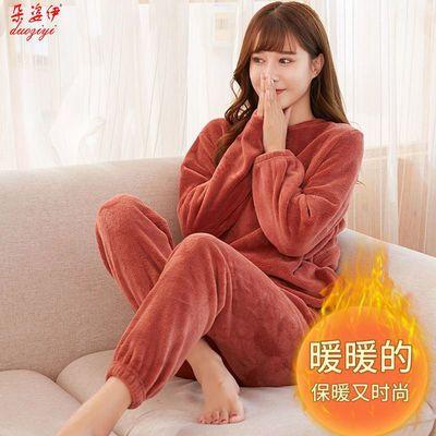 仙女暖暖套装单件女冬季加绒加厚珊瑚绒宽松懒人束脚居家睡裤睡衣