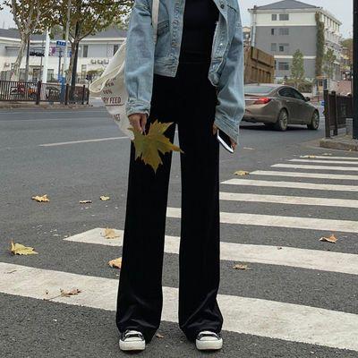 金丝绒阔腿裤女春秋冬高腰垂感宽松直筒宽松显瘦百搭休闲丝绒长裤